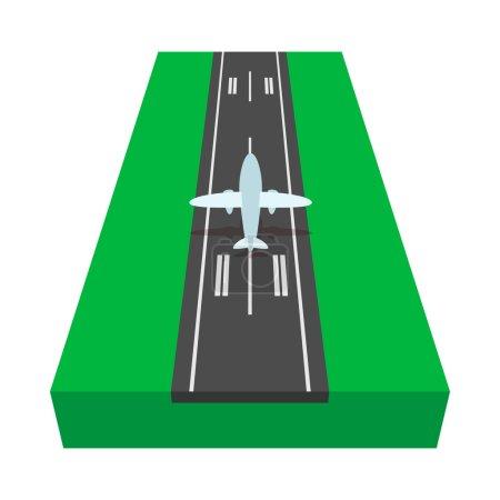 Piste d'atterrissage avec icône de dessin animé d'avion