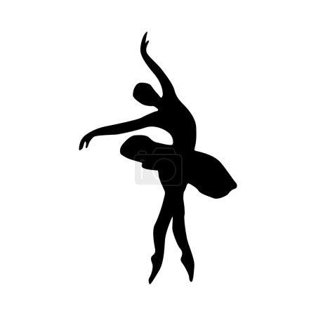 Illustration pour Silhouette ballerine icône noire isolée sur fond blanc - image libre de droit