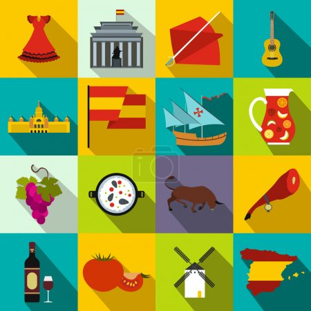 Spain icons flat