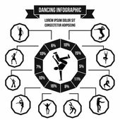 Dancing infographic flat style