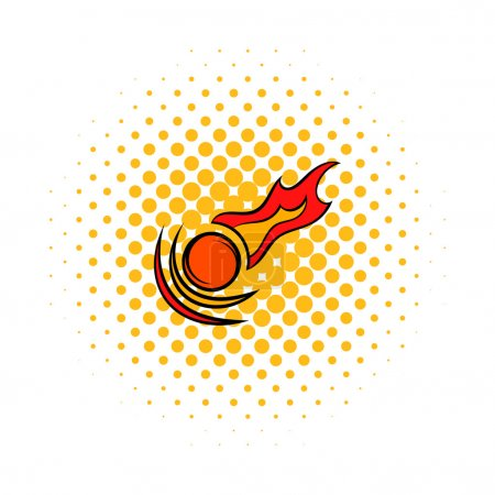 Illustration for Falling meteorite icon in comics style on a white background - Royalty Free Image