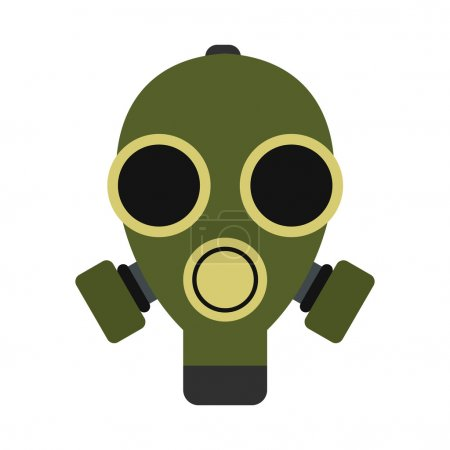 Illustration for Gas mask icon in flat style isolated on white background - Royalty Free Image