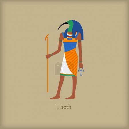 Thoth - God of wisdom and knowledge icon in flat s...