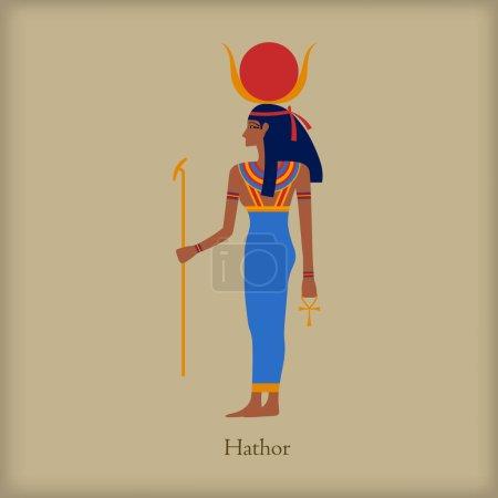 Hathor, Goddess of love icon, flat style