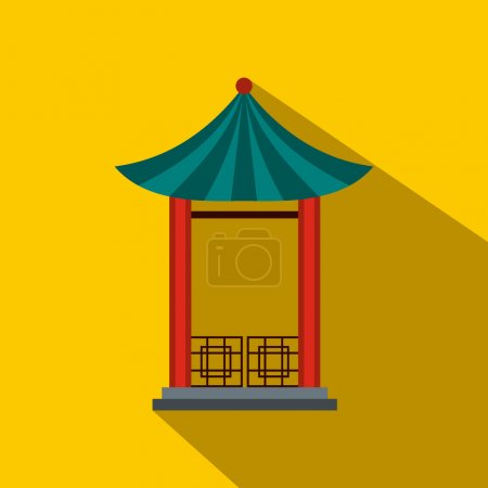 A japanese lotus pavilion icon, flat style
