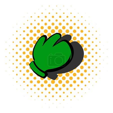 Illustration pour Icône de gant de travail dans le style de bande dessinée isolé sur fond demi-teinte - image libre de droit