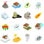 Natural disaster icons set isometric 3d style