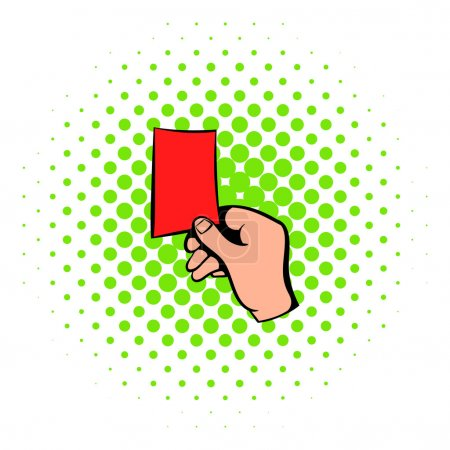 Raised red card icon, comics style