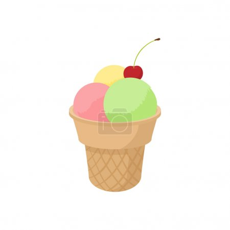 Mixed ice cream scoops in cone icon