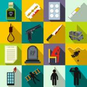 Suicide icons set flat style