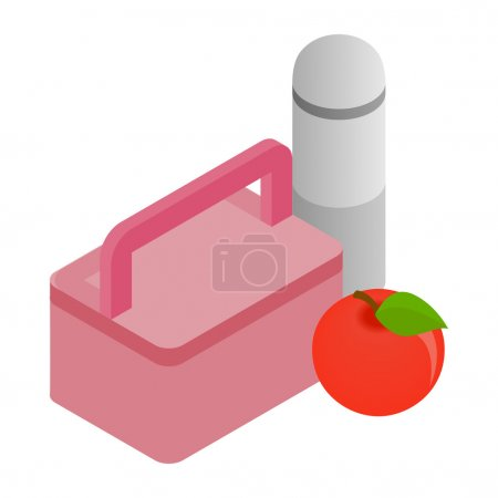 Illustration for Pink lunch box, red apple and thermos icon in isometric 3d style on a white background - Royalty Free Image