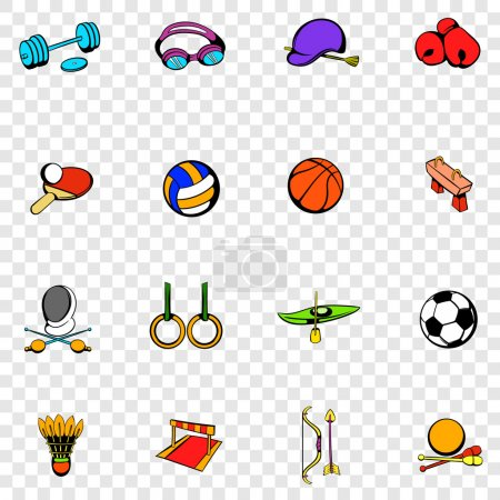 Sports equipment set icons
