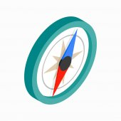 Ikona kompasu, izometrické 3d styl