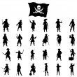Постер, плакат: Pirates crew silhouettes set