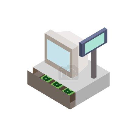 Illustration pour Vente caisse enregistreuse avec icône de tiroir-caisse dans le style 3d isométrique sur un fond blanc - image libre de droit