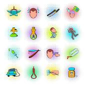 Suicide icons set