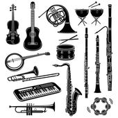 Musical instrument icons set simple style