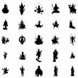 Indian gods silhouette set in simple style on a wh...