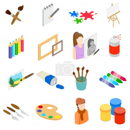Art icons set, isometric 3d style