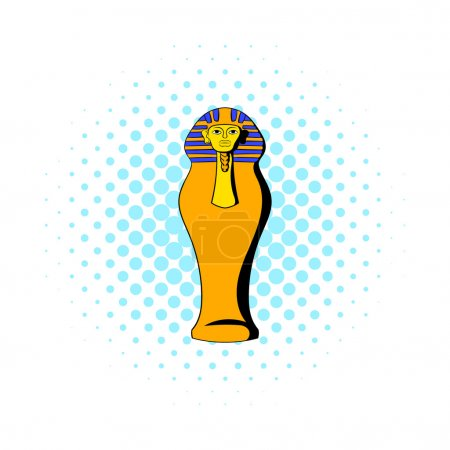 Egyptian pharaoh sarcophagus icon in comics style ...