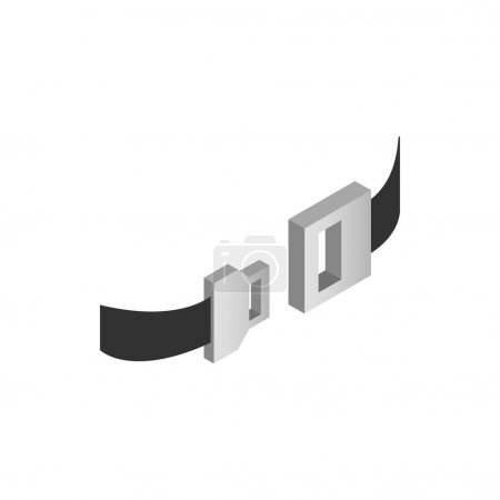 Aviation seat belt icon, isometric 3d style