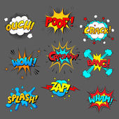 Comic sound effect set colored pictures with text on grey background