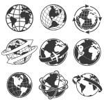 Globe concept illustration set, monochrome image o...
