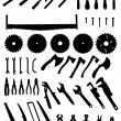 Big tools silhouette set, collection of black imag...