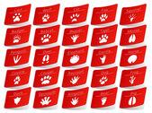 Animal track stickers set
