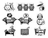 Sleeping signs set