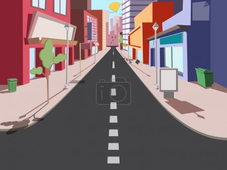 Illustration for Morning cityscape in a comic style. The road to the shops - Royalty Free Image