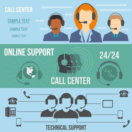 Illustration pour Support technique bannières du centre d'appel ensemble. Icônes de couleur plate - image libre de droit