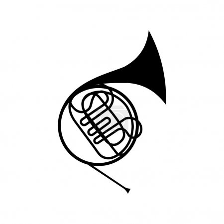 Illustration for French horn icon. Simple symbol on a white background - Royalty Free Image