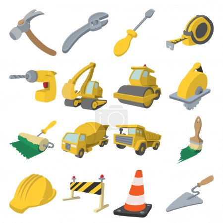 Construction cartoon icons