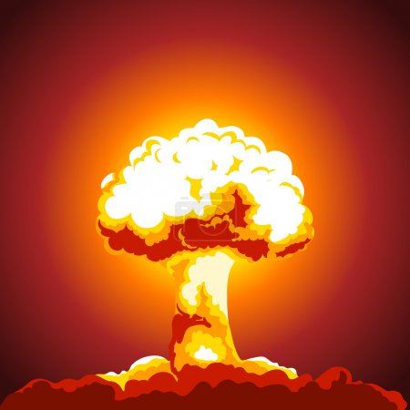 Illustration for Nuclear explosion illustration. Mushroom cloud. Color picture - Royalty Free Image