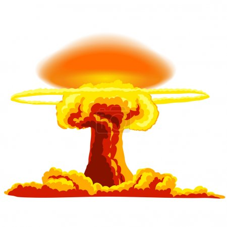 Illustration for Nuclear explosion with dust. Orange and red illustration on a white background - Royalty Free Image