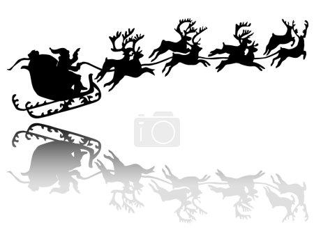 Santa Claus drives in a sleigh