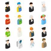 Isometrici uomini di 16 diverse professioni