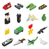 Weapon isometric 3d icons set