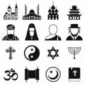 Religion simple icons set