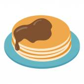 Pancakes on plate isometric 3d icon