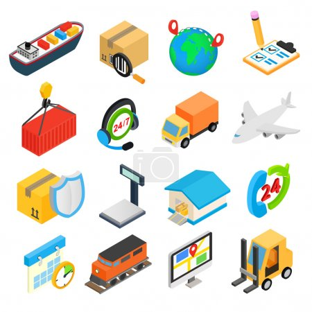 Illustration for Logistics isometric 3d icons set for web and mobile devices - Royalty Free Image
