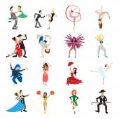 Dances cartoon icons set