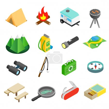 Illustration for Camping isometric 3d icons set isolated on white background - Royalty Free Image