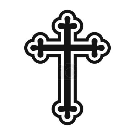 Illustration pour Croix chrétienne icône simple isolé sur fond blanc - image libre de droit