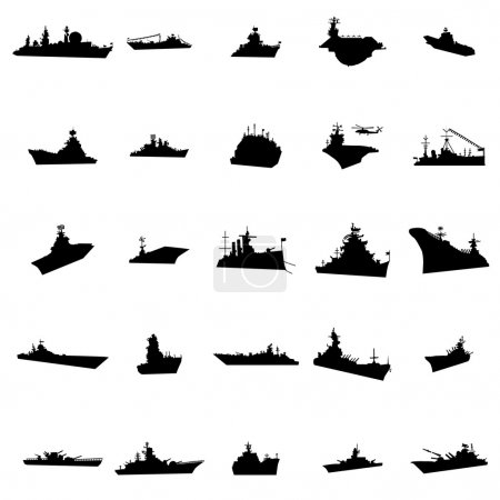 25 different warships silhouettes