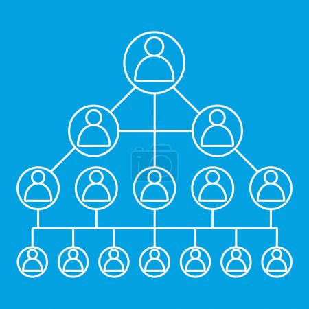 Illustration for Social media network line icon. Man in circle icons connected with lines on blue background - Royalty Free Image