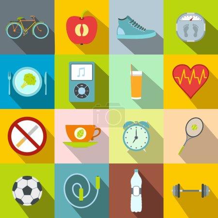 Illustration pour Style de vie sain icônes plates ensemble. Alimentation saine, sport, symboles Shedule avec de longues ombres - image libre de droit