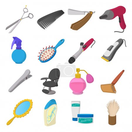 Barber shop cartoon icons
