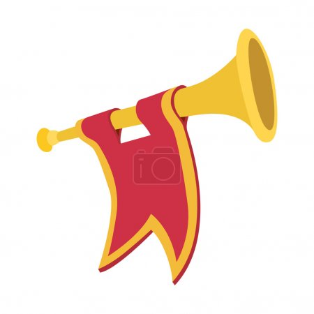 Illustration for Trumpet with red flag cartoon icon on a white background - Royalty Free Image